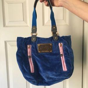 Royal blue velour juicy couture bag